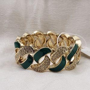 NEW Ann Taylor Green Enamel Stretch Bracelet #1524